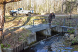 FWS at Pendills Creek National Fish Hatchery cleaning water intake