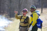 Two firefighters at prescribed burn