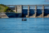 Angler in boat at Gavins Point Dam on Missouri River near Yankton, South Dakota