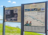 Billboard at boat launch on Missouri River near Yankton, South Dakota
