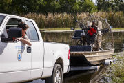 Launching an airboat into the water