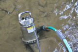 Small submersible pump used to pump river water to the mussel holding tank