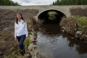 Fish passage engineer inspects new salmon friendly culvert