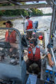 U.S. Fish and Wildlife Service boat, The Magna Carpa, searching for invasive carp