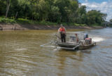 U.S. Fish and Wildlife Service boat, Dozer Trawler, searching for invasive carp