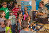 Visitor center program with FWS employee holding snake