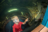 Visiting child looks at fish from inside aquarium bubble
