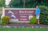 Blackwater NWR sign with visitor