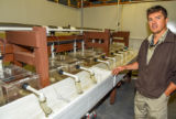 FWS mussel biologist, Jonathan Wardell , examines equipment