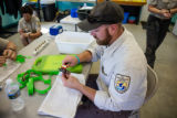 FWS biologist measures endangered Purple Cats's Paw mussel