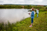 Young girls fishing