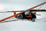 Digging an airplane out of the snow