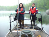 Evelyn Ravindran and Juliet Ellenich Stocking Fish