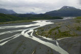 Aerial shot of the Braided River outwash plain