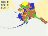FWS, NPS, and BLM Lands in Alaska Map