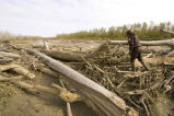 Flood debris at Big Muddy National Wildlife Refuge