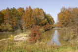 Water control dam and autumn trees