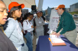 FWS employee talks to students