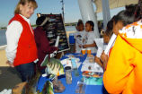 FWS employees teaching students about fishing