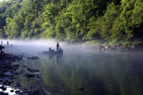 Kids fishing in the mist