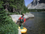 Biologist conducting a fish population survey