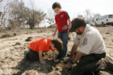 Children help Refuge worker