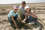 Girl Scouts and mom replant trees