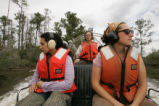 Volunteers on air boat