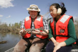 Volunteers on an airboat