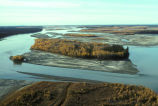 Yukon River fall colors aerial view